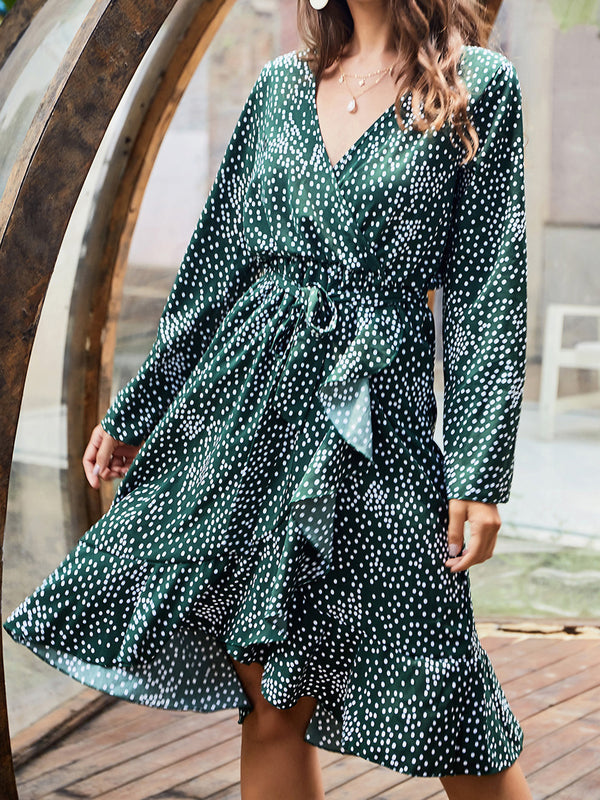 Green Women Dresses Holiday Paneled Dresses