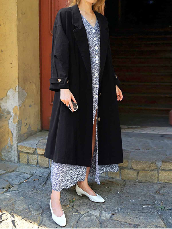 Lapel Colar Long Sleeve Coat Outerwear