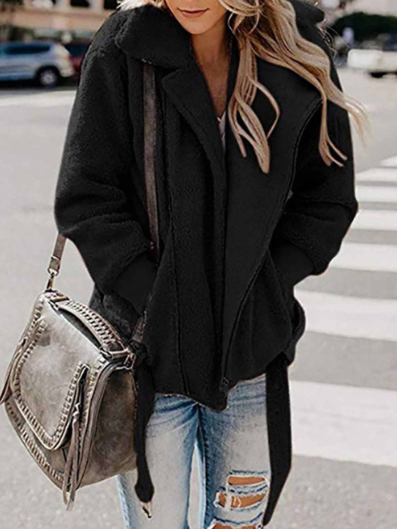 Fluffy Warm Lapel Collar Coat Outerwear