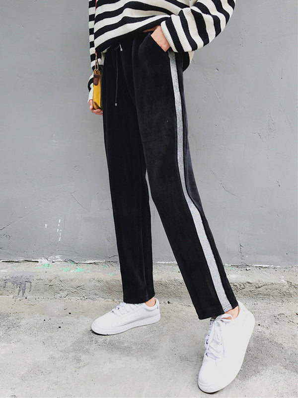 Black Solid Velvet Printed Simple Pants