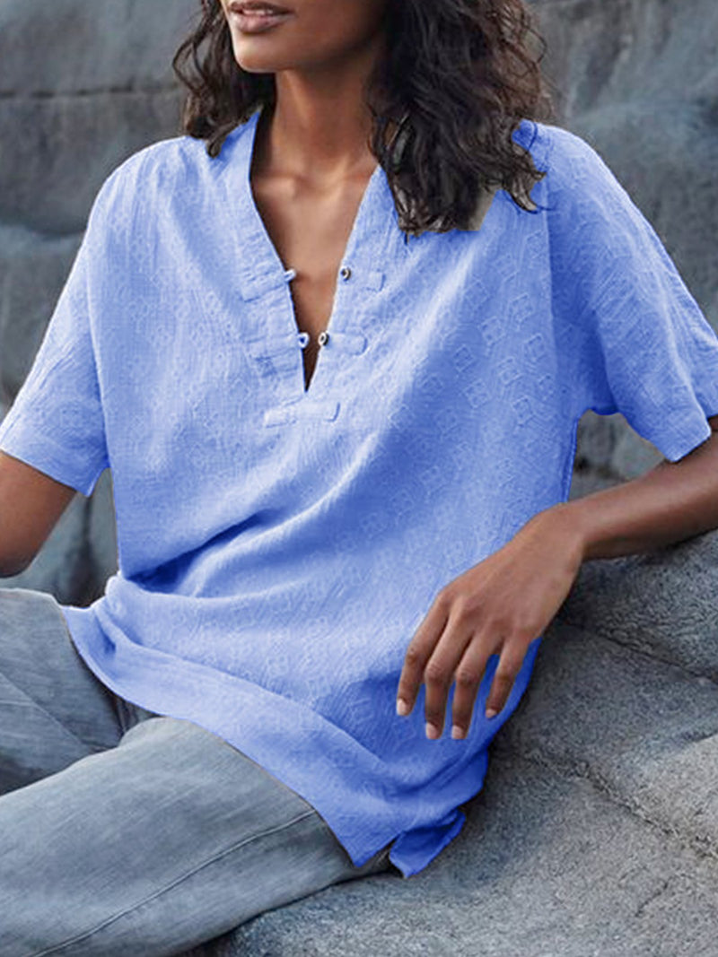 Short Sleeve Casual Solid V Neck Shirts & Tops