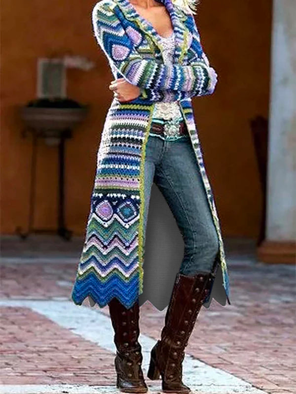 Plus Size Statement Long Sleeve Geometric Outerwear