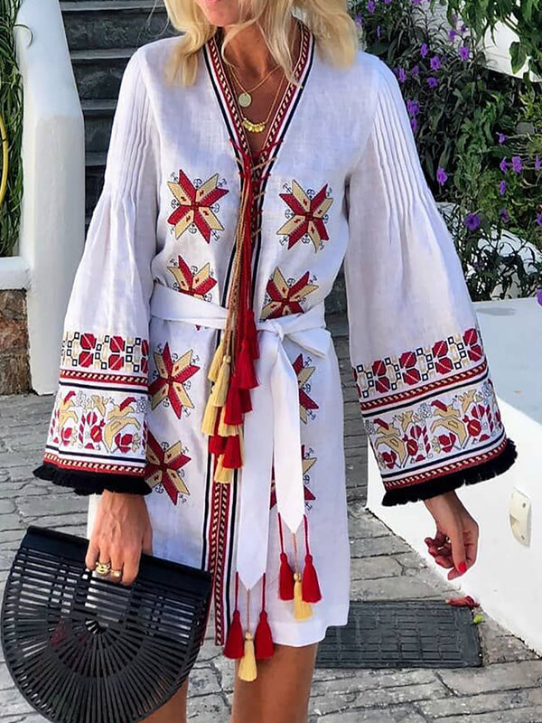 V Neck Bell Sleeve Tribal Cotton Dresses
