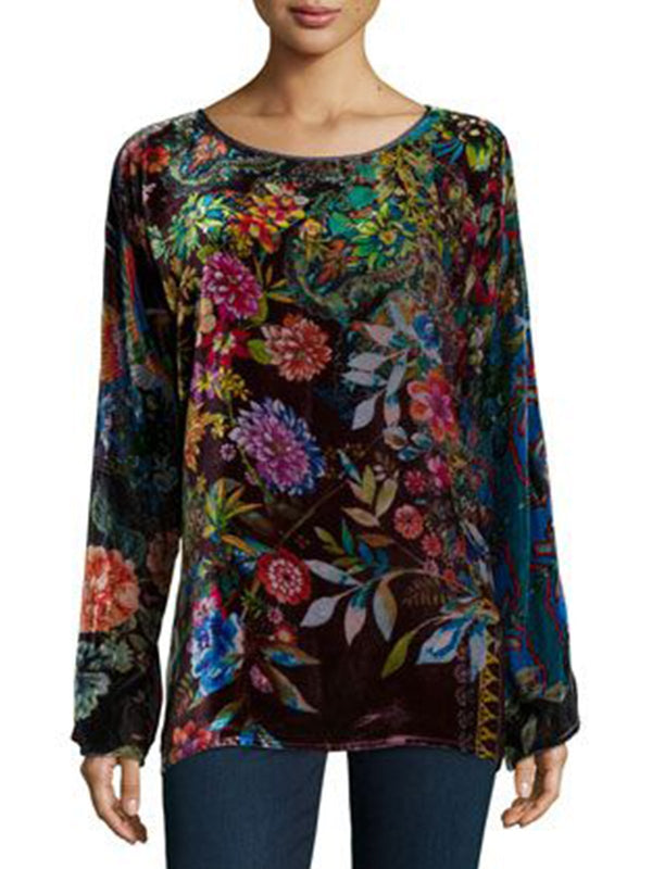 Black Floral Corduroy Holiday Shirts & Tops