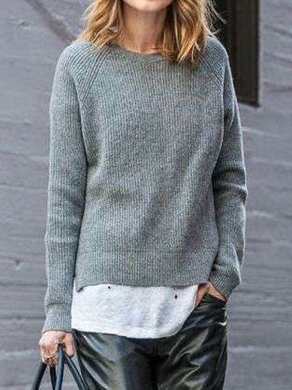 Gray Knitted Casual Crew Neck Shirts & Tops