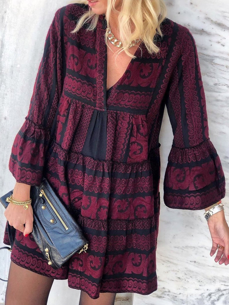Plus Szie Boho Printed V Neck Long Sleeve Casual Dresses