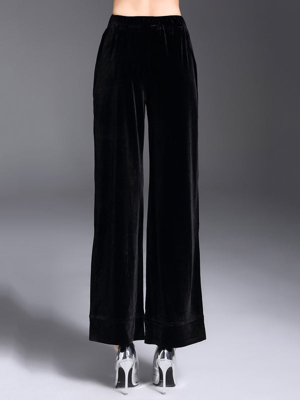 Black Casual Lace Up Velvet Wide Leg Pants