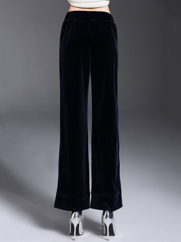 Navy Blue Casual Velvet Wide Leg Pants
