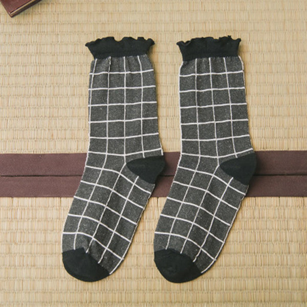 Square Pattern Cotton Tight Mid Ankle Sock