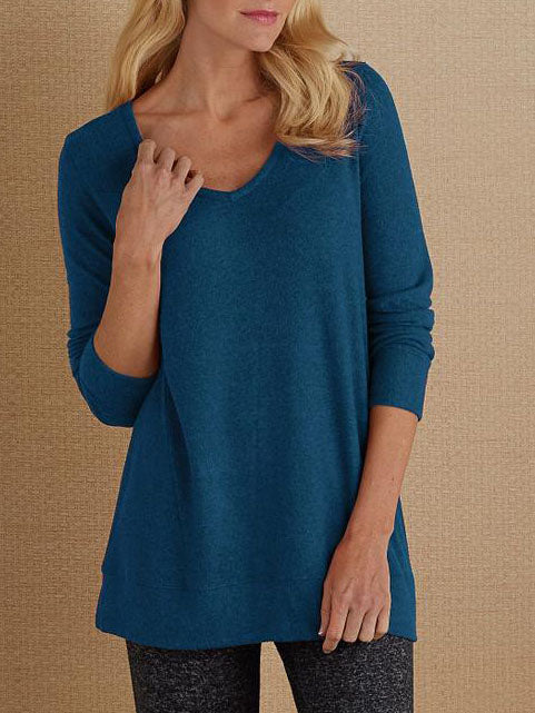 Casual Long Sleeve V Neck Shirts & Tops