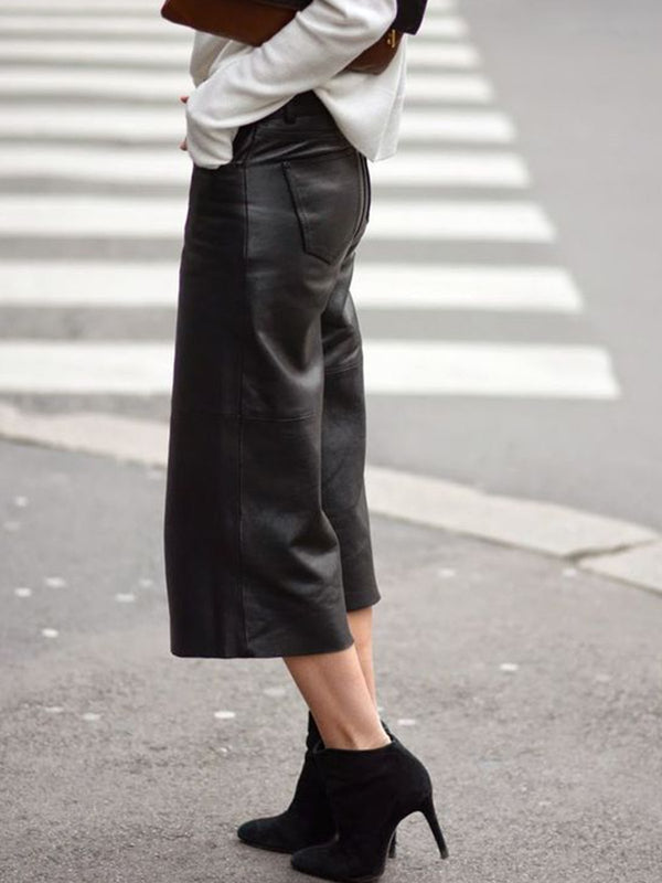 Black Faux Leather Shift Casual Pants