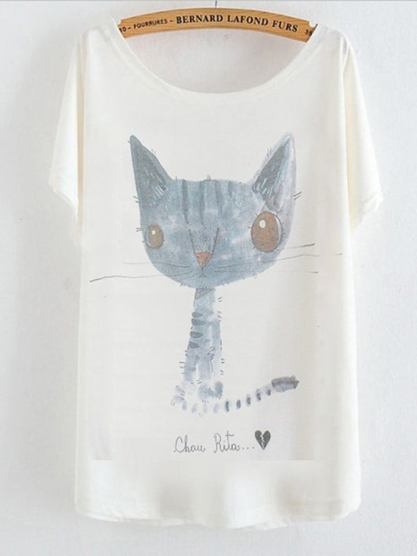 Vintage Letter Cat Printed Short Sleeve Crew Neck Casual Tops