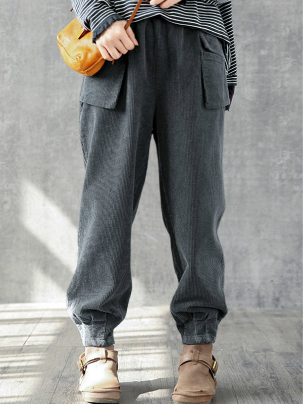 Corduroy Solid Color Casual Plus Size Pants