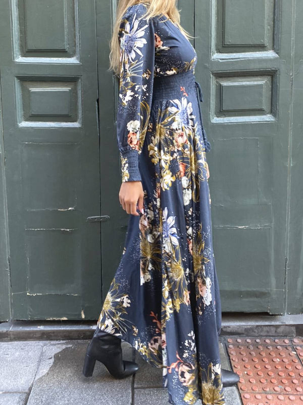 Maxi Dresses Plus Size Long Sleeves V-neck Bohemia Floral Navy Blue Casual Holiday