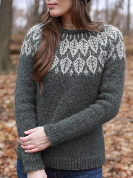 Printed Casual Crew Neck Sweater