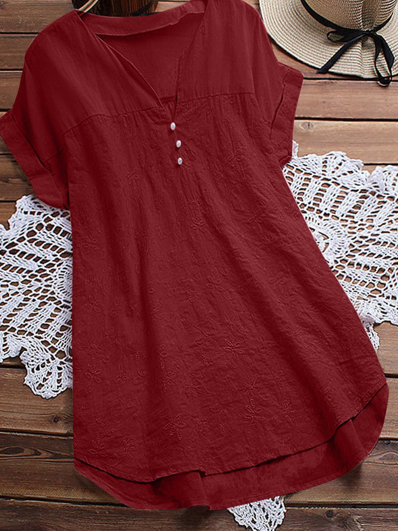 Short Sleeve V Neck Sweet Shirts & Tops