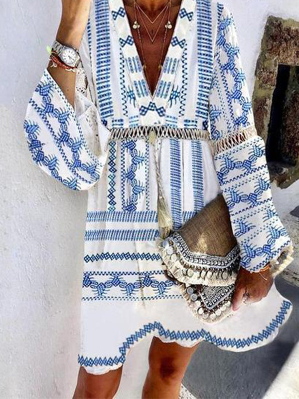 Blue Long Sleeve Printed Dresses