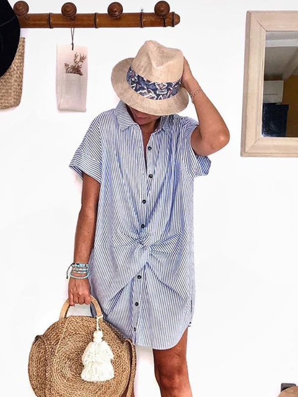 Plus Size Casual Striped Shirt Dresses