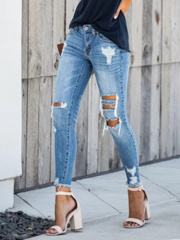 Blue Zipper Denim Casual plus size Pants