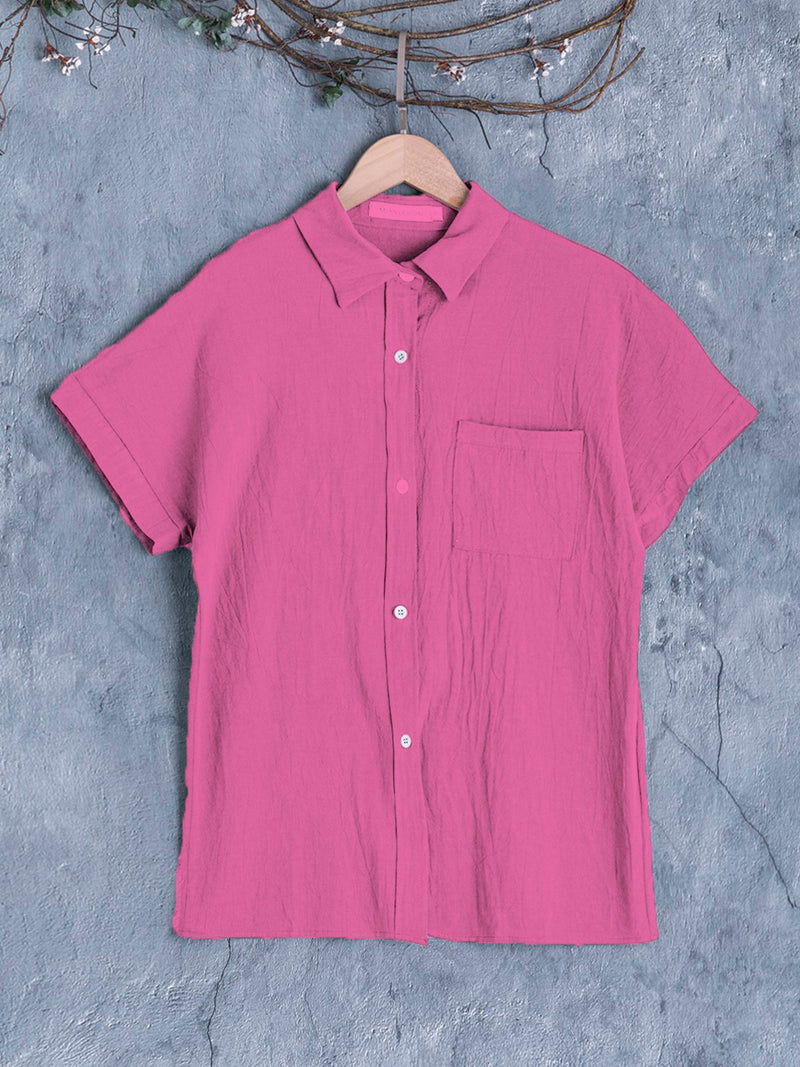 Short Sleeve Buttoned Down Pockets Plus Size Shirts