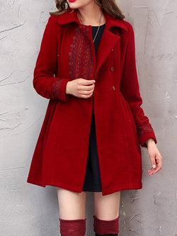 Wool Blend Coat Embroidery Outerwear Turn-Down Collar Ladies Overcoat Vintage Jacket