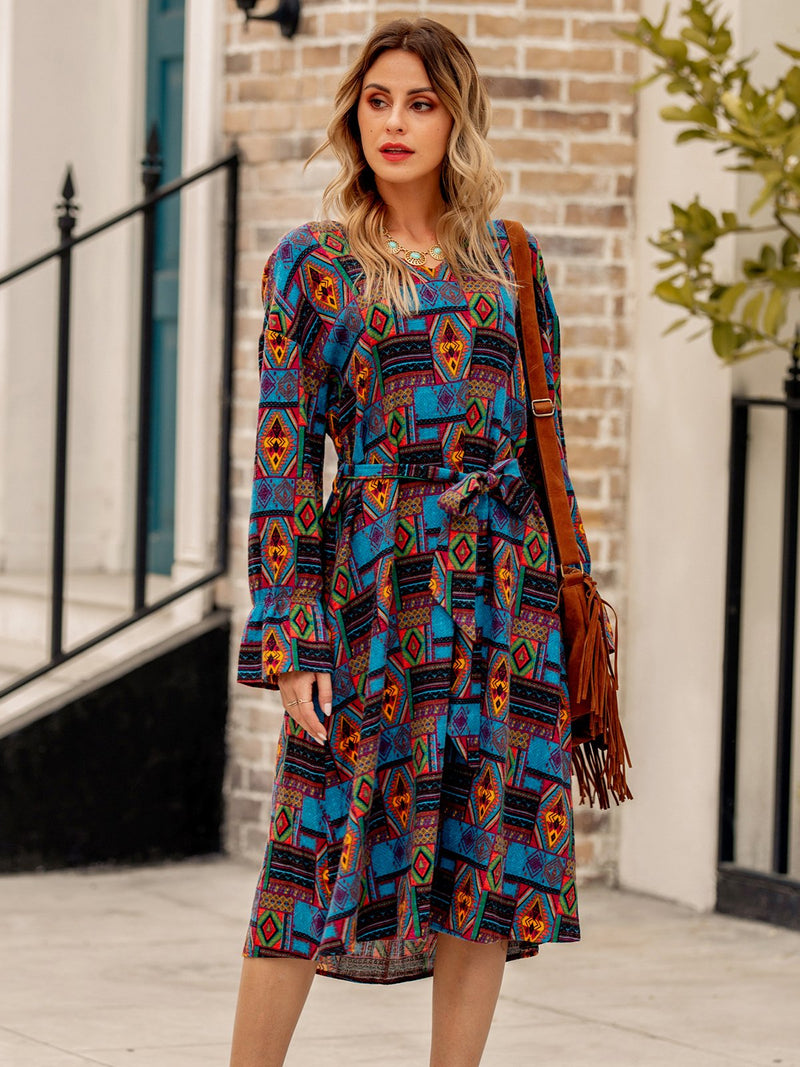 Long Sleeve Lace-Up Tribal Dresses