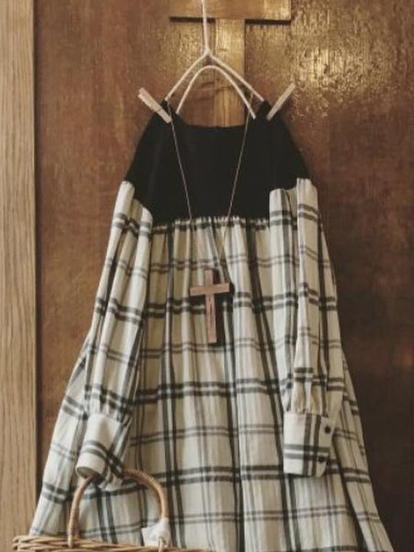 Vintage Plaid Plus Size Long Sleeve Casual Dresses