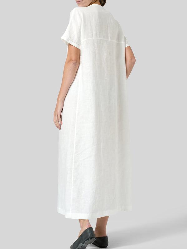 V Neck Casual Plain Cotton Dresses