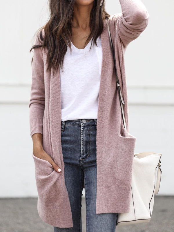 Pink Wool Blend Long Sleeve Pockets Solid Outerwear