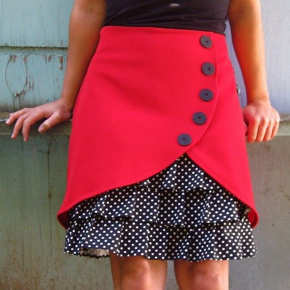 Vintage Ruffled Solid Casual Skirts