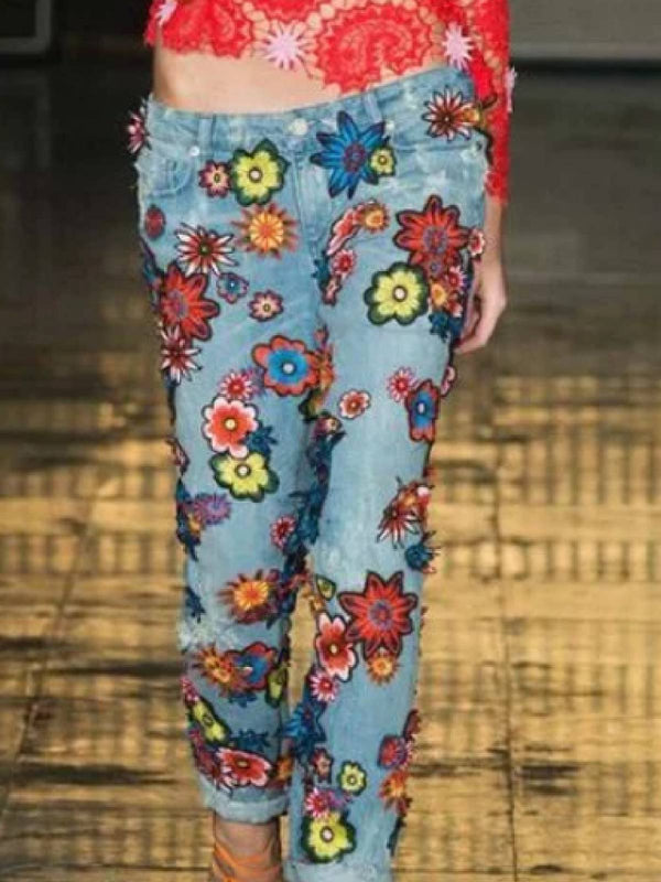 Casual Cotton-Blend Floral Pants