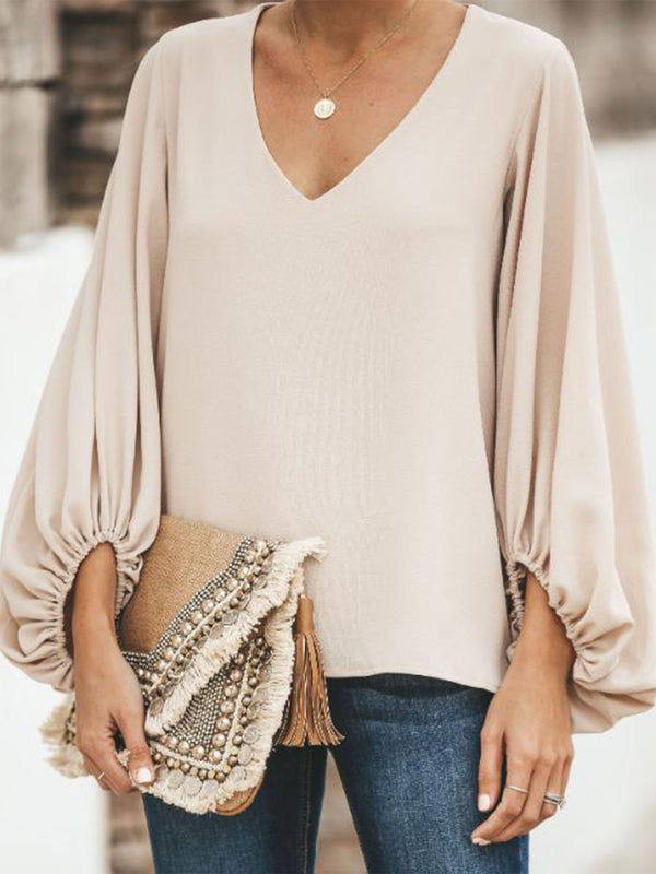 Long Sleeve V Neck Casual Shirts