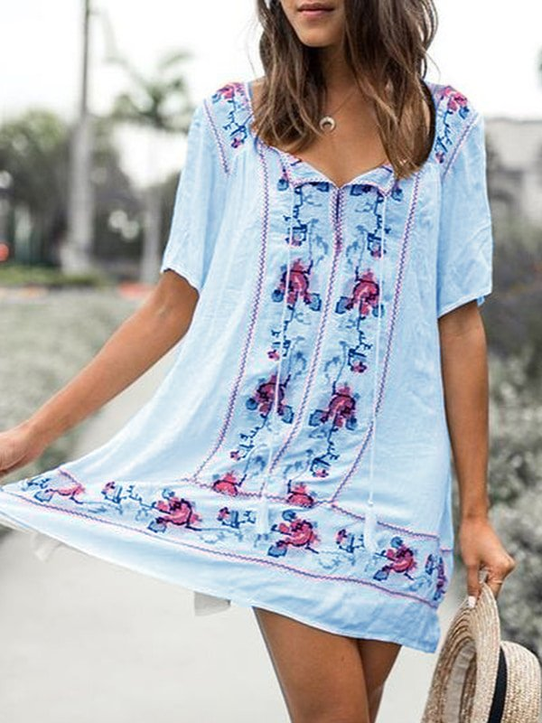 Mini Dresses Embroidered Floral Short Sleeve V Neck Shift White Boho Casual Holiday