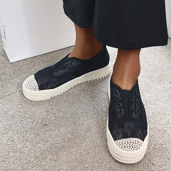 Mesh Fabric Casual Flat Heel Loafers Slip-On Sneakers Women