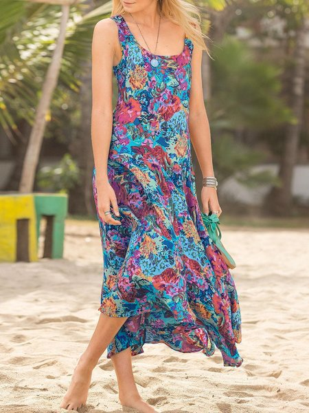 Maxi Dresses Plus Size Red Floral Multicolor Sleeveless Round Neck Shift Red Casual Holiday Beach