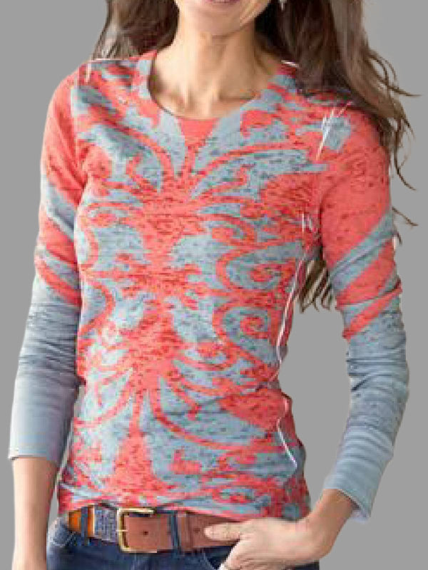 Red Long Sleeve Printed Shirts & Tops