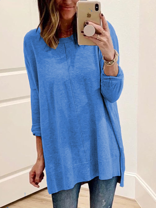 Plus Size Casual Long Sleeve Crew Neck Solid Tops