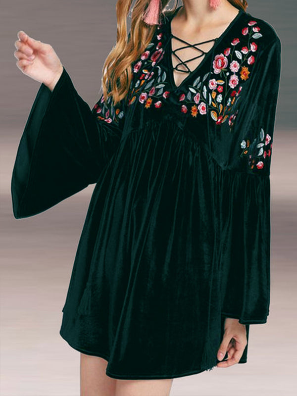 Vintage Embroidered Velvet Dresses