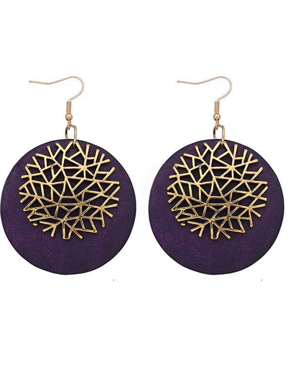 Vintage Tree Embossed Alloy Women Earrings