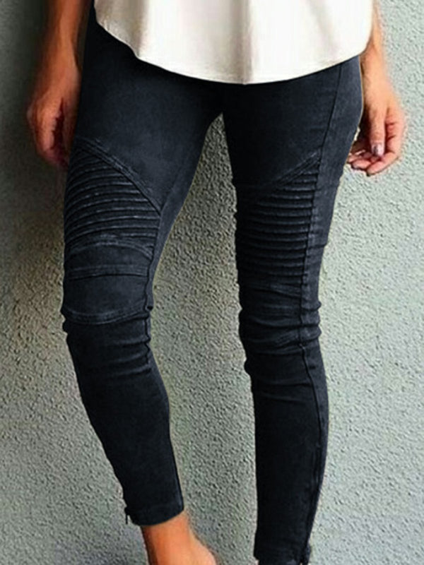 Women Pleated 100% Elastic Denim Leggings - plain casual pants