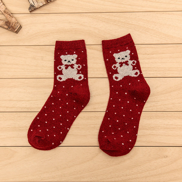 Women Wool Blend Cute Polka Dots Teddy Bear Socks
