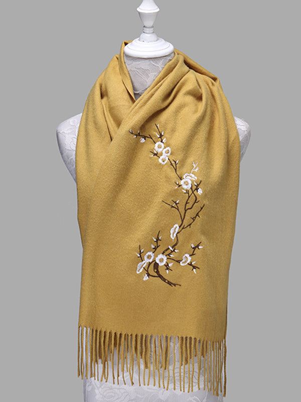 Vintage Floral Embroidered Fringed Casual Warm Scarves Shawls