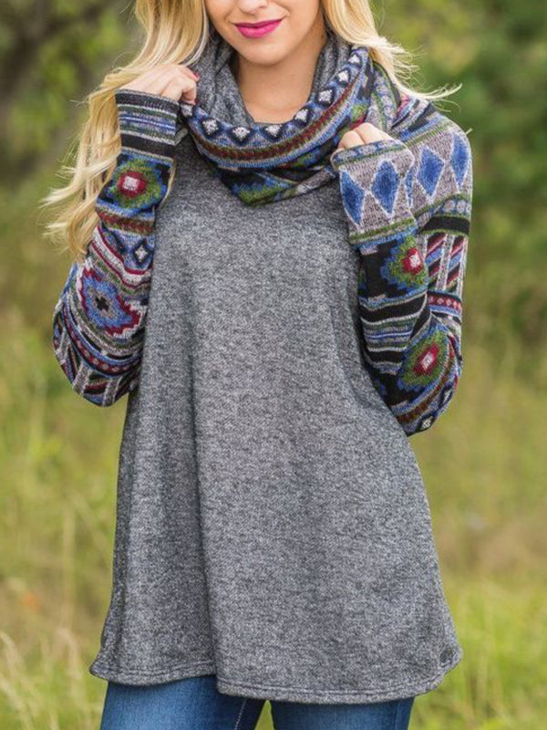Long Sleeve Printed Cowl Neck Casual Tops