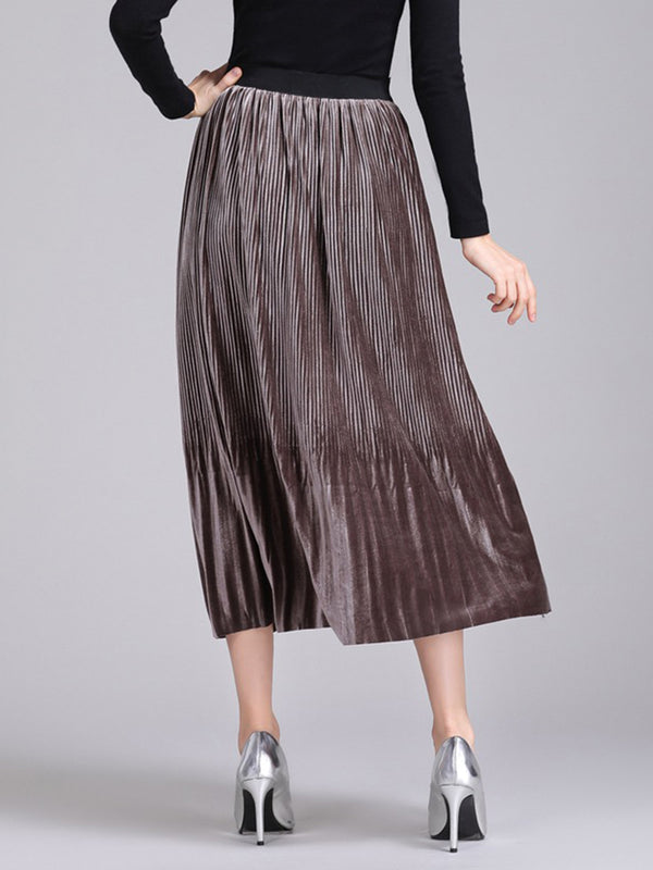 Velvet Casual Pleated Plain Skirt