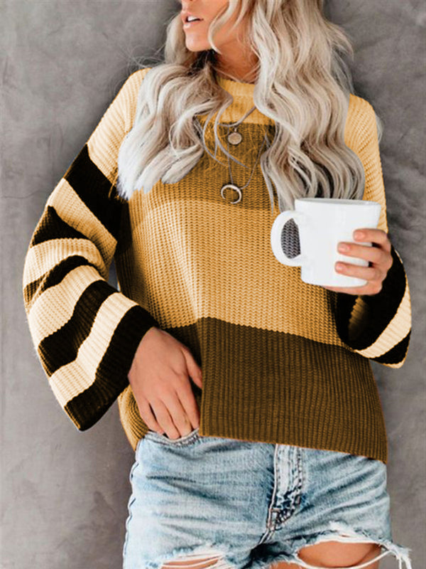 Knitted Long Sleeve Cotton Crew Neck Printed Sweater