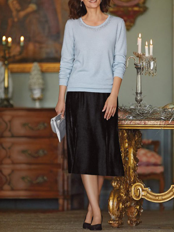Solid Casual Velvet Skirts