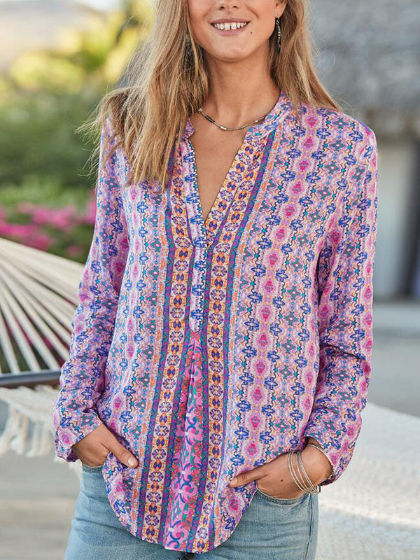Boho V Neck Floral Shirts & Tops