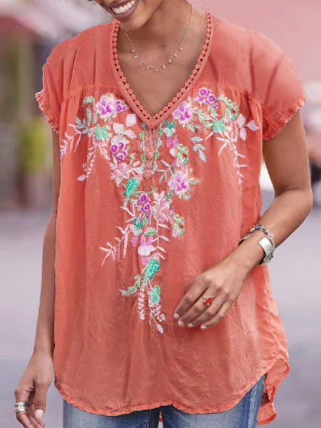 Casual Cotton-Blend Short Sleeve Floral Shirts & Tops