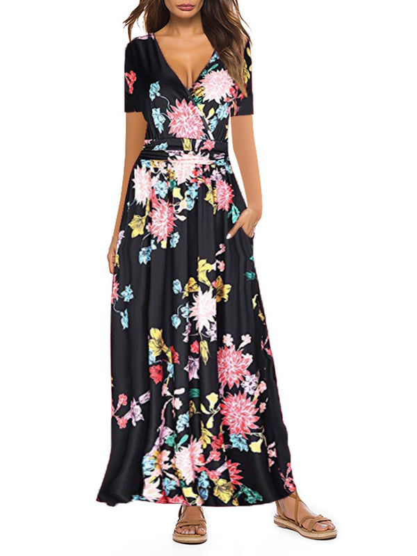 Casual Print V-neck Wrap Chest Short Sleeve Pocket Maxi Dress