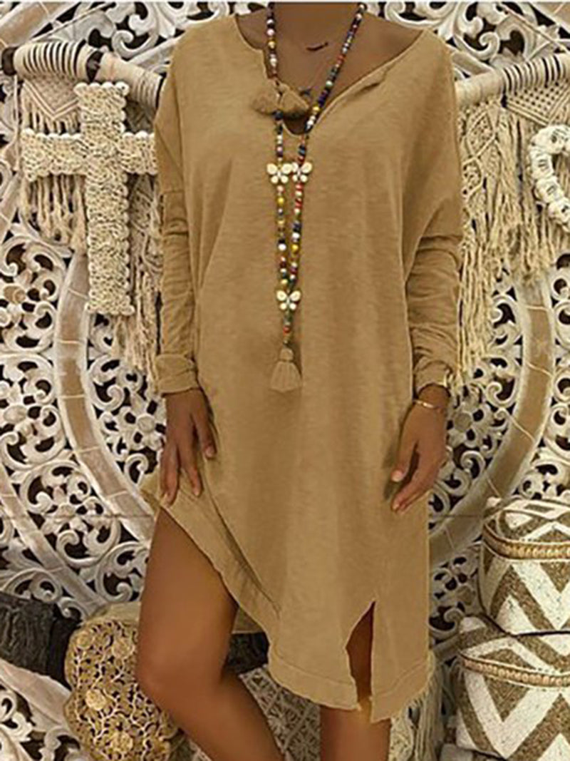 Solid V Neck Casual Dresses